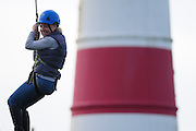 Zip-wire charity challenge from the top of Happisburgh Lighthouse.<br /> <br /> Picture: MARK BULLIMORE