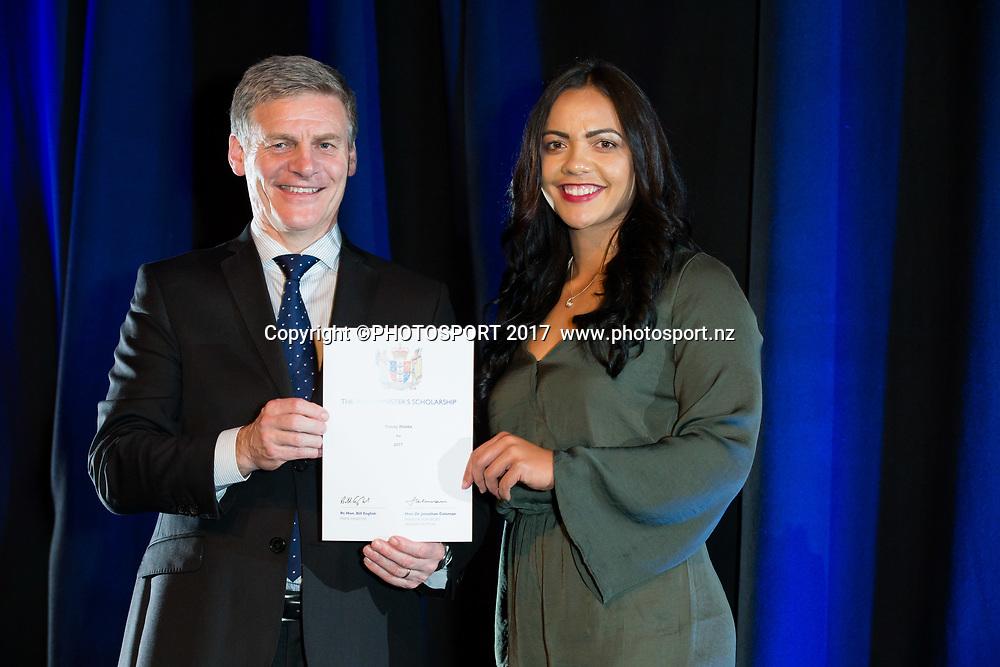 Stacey Waaka with Rt Hon Bill English, 2017 Waikato Prime Minister's Scholarship Certificate Presentation Evening, Claudelands, Hamilton, New Zealand. Thursday 27 April 2017. © Copyright Photo: Stephen Barker / www.photosport.nz