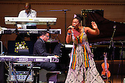 "Greg Phillinganes, Herbie Hancock and India.Arie at Herbie Hancock's ""Seven Decades: The Birthday Celebration"" at Carnegie Hall. June 24, 2010"
