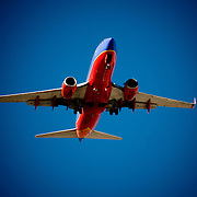 A Southwest Airlines passenger jet approaches Sky Harbor International Airport in Phoenix, Arizona.