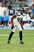 Seattle Seahawks rookie strong safety Delano Hill (42) gets set during the 2017 NFL week 1 preseason football game against the against the Los Angeles Chargers, Sunday, Aug. 13, 2017 in Carson, Calif. The Seahawks won the game 48-17. (©Paul Anthony Spinelli)