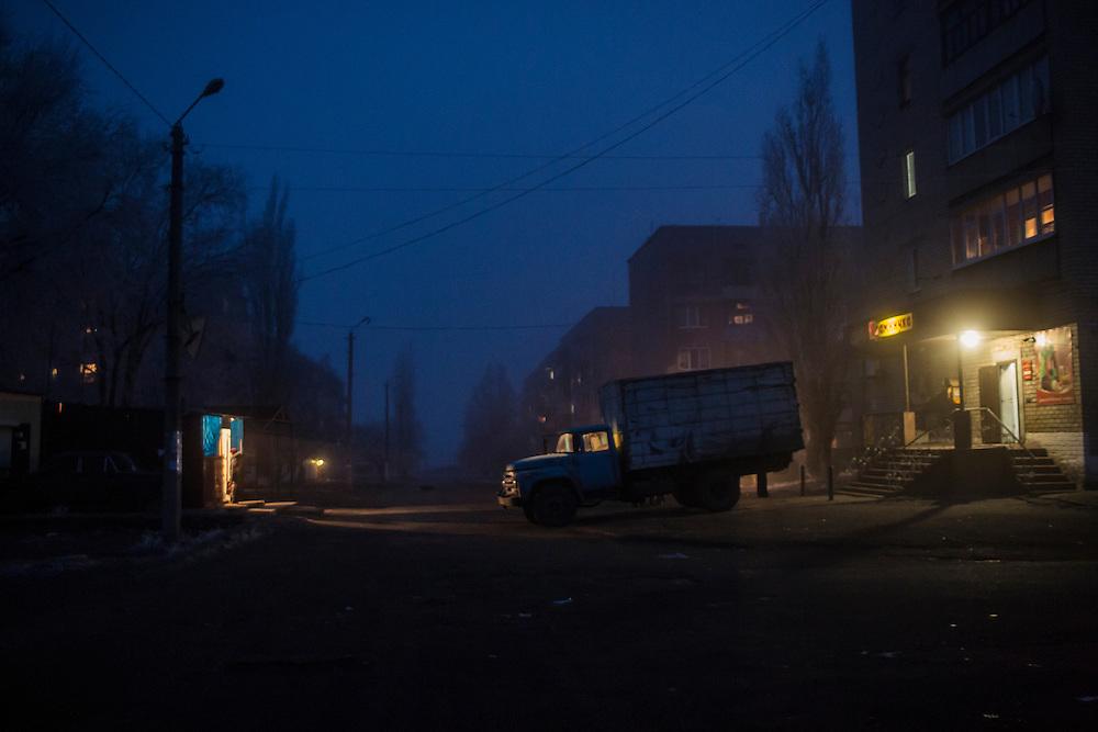 An evening street scene on Friday, December 11, 2015 in Zolote, Ukraine.