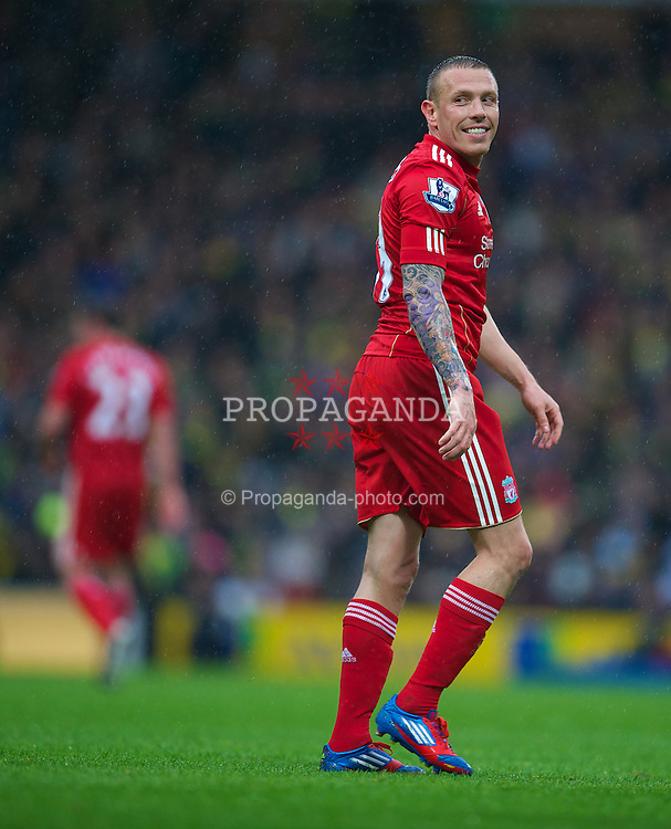 NORWICH, ENGLAND - Saturday, April 28, 2012: Liverpool's Craig Bellamy in action against Norwich City during the Premiership match at Carrow Road. (Pic by David Rawcliffe/Propaganda)