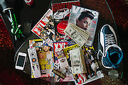 Atlanta rapper Ca$h Out's coffee table in his living room seen in his condo June 15, 2012.