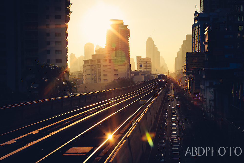 BTS Sky Train at sunrise Bangkok Thailand