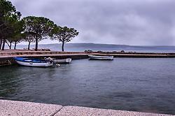 THEMENBILD - die Fischerboote während eines Gewitter im Hafen von Crikvenica, Kroatien, aufgenommen am 19. April 2017, Crikvenica, Kroatien // The fishing boats during a thunderstorm and rain the port of Crikvenica, Croatia, on 2017/04/19, Crikvenica, Croatia. EXPA Pictures © 2017, PhotoCredit: EXPA/ Stefanie Oberhauser