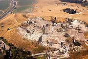 Aerial view of ancient Tel Megiddo Israel, Jezreel (Armageddon) Valley,