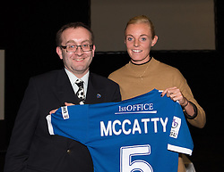 Bristol Academy's Sophie Ingle presents a shirt to Grace McCatty's sponsor Ray Parker - Photo mandatory by-line: Paul Knight/JMP - Mobile: 07966 386802 - 11/10/2015 - Sport - Football - Bristol - Stoke Gifford Stadium - Bristol Academy WFC End of Season Awards 2015
