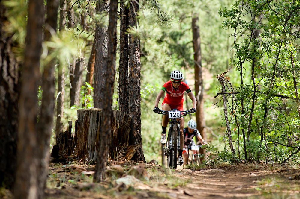 Rita Borelli climbs a small hill on the Smokin Handlebar Trail.