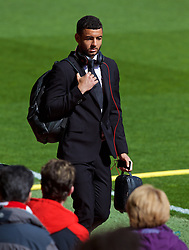 LIVERPOOL, ENGLAND - Sunday, April 10, 2016: Liverpool's Kevin Stewart arrives before the Premier League match against Stoke City at Anfield. (Pic by David Rawcliffe/Propaganda)