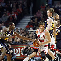 10 March 2012: Chicago Bulls shooting guard Kyle Korver (26) drives past Utah Jazz shooting guard Gordon Hayward (20) during the Chicago Bulls 111-97 victory over the Utah Jazz at the United Center, Chicago, Illinois, USA.