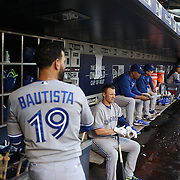 Jose Bautista, (left) and Josh Donaldson, Toronto Blue Jays, during the New York Mets Vs Toronto Blue Jays MLB regular season baseball game at Citi Field, Queens, New York. USA. 15th June 2015. Photo Tim Clayton
