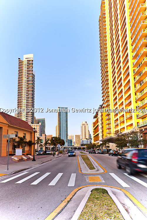 Condos, apartments, officdes and elevated Metromover track on South Miami Avenue in Miami's Brickell neighborhood. WATERMARKS WILL NOT APPEAR ON PRINTS OR LICENSED IMAGES.