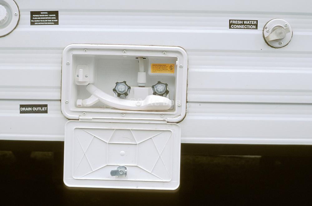 close up of a camper shower outlet