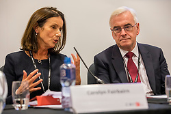 © Licensed to London News Pictures. 24/09/2018. Liverpool, UK. Director-General of the CBI Carolyn Fairbairn (L) and Shadow Chancellor John McDonnell MP (R) speak at a CBI fringe event at the Labour Party Conference 2018. The CBI has said that plans for employee share ownership proposed by McDonnell would harm jobs and investment Photo credit: Rob Pinney/LNP