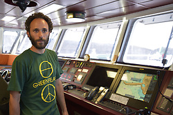 June 30, 2017 - Pozzuoli, Italy - It left Genoa, touched the Spanish coast, and tomorrow, on Friday 30th, he will take to the Caligoliano dock in Pozzuoli, where he will stay for two days. It is turning around Italy, but it has already crossed half a world, the ''Rainbow Warrior'', the Greenpeace vessel engaged in collecting elements of microplastic pollution in the seas and oceans, and at the same time raising awareness of the importance of these issues . The Italian tour of the campaign has been named ''Less Plastic, more Mediterranean'' and is organized with the scientific collaboration of the Institute of Marine Sciences of the CNR of Genoa, the Polytechnic University of Marche and the ''Anton Dohrn'' Zoo Naples. (Credit Image: © Paola Visone/Pacific Press via ZUMA Wire)
