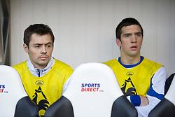 NEWCASTLE, ENGLAND - Saturday, March 5, 2011: Everton's substitutes Diniyar Bilyaletdinov and Shane Duffy during the Premiership match against Newcastle United at St. James' Park. (Photo by David Rawcliffe/Propaganda)