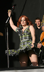 Ana Matronic of Scissor Sisters on the main stage, T in the Park, Sunday 8 July 2007..T in the Park festival took place on the 6th, 7th and 8 July 2007, at Balado, near Kinross in Perth and Kinross, Scotland. This was the first time the festival had been held over three days..Pic ©Michael Schofield. All Rights Reserved..