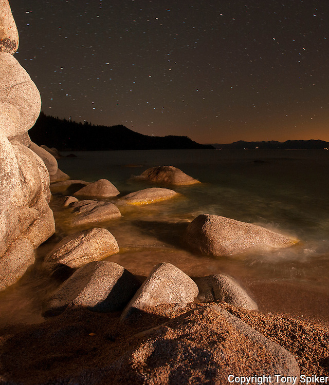 """""""Stars Over Chimney Beach 2"""" - A night photograph of Chimney Beach, on the Eastern Shore of Lake Tahoe"""