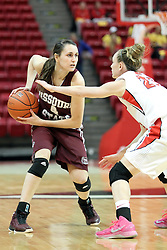 03 March 2013:  Jamie Russell defends Kenzie Williams during an NCAA Missouri Valley Conference (MVC) women's basketball game between the Missouri State Bears and the Illinois Sate Redbirds at Redbird Arena in Normal IL