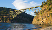 Deception Pass State Park Bridge at sunset Whidbey Island Washington USA.