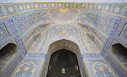 South Iwan, entrance to main sanctuary. Imam Mosque (Masjed-e Imam), is a mosque in Isfahan, Iran standing in south side of Naghsh-i Jahan Square. Built 1611 - 1629. Architect: Shaykh Bahai