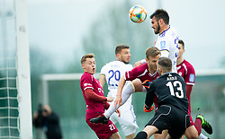 Saša Ivković of Maribor vs Aleš Mertelj of Triglav and Jalen Arko of Triglav during Football match between NK Triglav and NK Maribor in 25th Round of Prva liga Telekom Slovenije 2018/19, on April 6, 2019, in Sports centre Kranj, Slovenia. Photo by Vid Ponikvar / Sportida