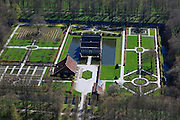 Nederland, Groningen, Gemeente Eemsmond, 01-05-2013; Uithuizen, Menkemaborg. Groninger borg,  oorspronkelijk versterkte boerderij, later luxe buitenplaats. Met siertuinen in Franse stijl, 18e eeuwse Hollandse tuin.<br /> Groninger stately home, originally fortified farm, later luxury villa. With ornamental gardens in the French style, 18th century Dutch garden.<br /> luchtfoto (toeslag op standard tarieven);<br /> aerial photo (additional fee required);<br /> copyright foto/photo Siebe Swart