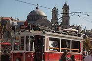 Turkey. Istambul. Taksim district. urban life in the pedestrian area, Taksim tramway