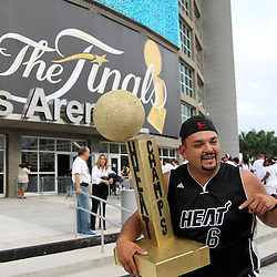 Jun 21, 2012; Miami, FL, USA; Miami Heat fan Nelson Gomez outside American Airlines Arena before game five in the 2012 NBA Finals against the Oklahoma City Thunder. Mandatory Credit: Derick E. Hingle-US PRESSWIRE