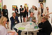LARRY GAGOSIAN; DOUG KRAMER, ON THE GAGOSIAN STAND, , Opening of Miami Art Basel 2011, Miami Beach. 30 November 2011.