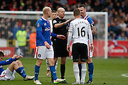 Everton midfielder James McCarthy  getting a warning during the The FA Cup fourth round match between Carlisle United and Everton at Brunton Park, Carlisle, England on 31 January 2016. Photo by Craig McAllister.