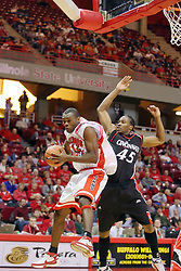 08 December 2007: Dinma Odiakosa moves in front of John Williamson. The Cincinnati Bearcats take a loose against the Illinois State Redbirds 62-52 on Doug Collins Court in Redbird Arena on the campus of Illinois State University in Normal Illinois.