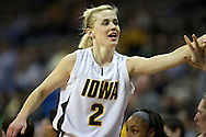 February 18, 2010: Iowa guard Kamille Wahlin (2) smiles as she comes out of the game late in the second half of the NCAA women's basketball game at Carver-Hawkeye Arena in Iowa City, Iowa on February 18, 2010. Iowa defeated Minnesota 75-54.