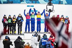 February 17, 2018 - Pyeongchang, Sydkorea - Anna Haag, Charlotte Kalla, Ebba Andersson and Stina Nilsson - Sweden, Ingvild Flugstad Östberg, Astrid Uhrenholdt Jacobsen, Ragnhild Haga and Marit Björgen, Norway, Natalia Nepryaeva, Yulia Belorukova, Anastasia Sedova and Anna Nechaevskaya (OAR) ..Women's Cross Country skiing 4x5km Relay, PyeongChang 2018 Olympic Games, 2018-02-17..(c) ORRE PONTUS  / Aftonbladet / IBL BildbyrÃ¥....* * * EXPRESSEN OUT * * *....AFTONBLADET / 85527 (Credit Image: © Orre Pontus/Aftonbladet/IBL via ZUMA Wire)