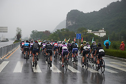 The peloton stick together on a wet start at GREE Tour of Guangxi Women's World Tour 2018, a 145.8 km road race in Guilin, China on October 21, 2018. Photo by Sean Robinson/velofocus.com
