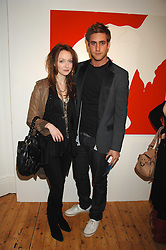 OLIVIA GRANT and actor OLIVER JACKSON-COHEN son of designer Betty Jackson at an exhibition of artist Natasha Law's work entitled 'Room' hosted by the Eleven gallery in association with Ruinart champagne at 121 Charing Cross Road, London WC2 on 16th January 2008.  Following the private view a dinner was held at Soho House hosted by Ruinart.<br /> <br />  (EMBARGOED FOR PUBLICATION IN UK MAGAZINES UNTIL 1 MONTH AFTER CREATE DATE AND TIME) www.donfeatures.com  +44 (0) 7092 235465