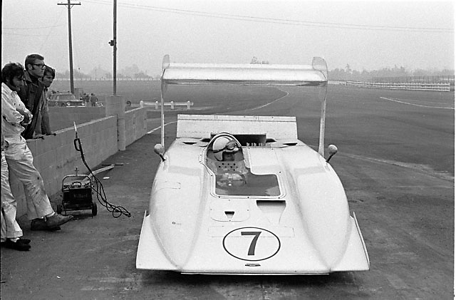 John Surtees in Chaparral 2H at 1969 Riverside Can-Am. The high wing seen here was removed before the race.