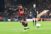 Jordon Ibe (10) of AFC Bournemouth shoots at goal during the EFL Cup 4th round match between Bournemouth and Norwich City at the Vitality Stadium, Bournemouth, England on 30 October 2018.