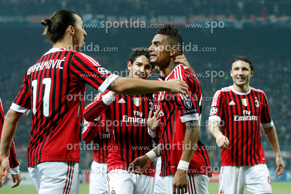 23.11.2011, Giuseppe Meazza Stadion, Mailand, ITA, UEFA CL, Gruppe H, AC Mailand (ITA) vs FC Barcelona (ESP), im Bild Esultanza di Kevin Boateng, Celebration // during the football match of UEFA Champions league, group H, between Gruppe H, AC Mailand (ITA) and FC Barcelona (ESP) at Giuseppe Meazza Stadium, Milan, Italy on 2011/11/23. EXPA Pictures © 2011, PhotoCredit: EXPA/ Insidefoto/ Paolo Nucci..***** ATTENTION - for AUT, SLO, CRO, SRB, SUI and SWE only *****