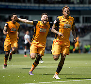 Abel Hernandez of Hull City (right) celebrates after scoring his team's 1st goal to make it 1-0 during the Sky Bet Championship Playoff Semi Final First Leg at the iPro Stadium, Derby<br /> Picture by Russell Hart/Focus Images Ltd 07791 688 420<br /> 14/05/2016