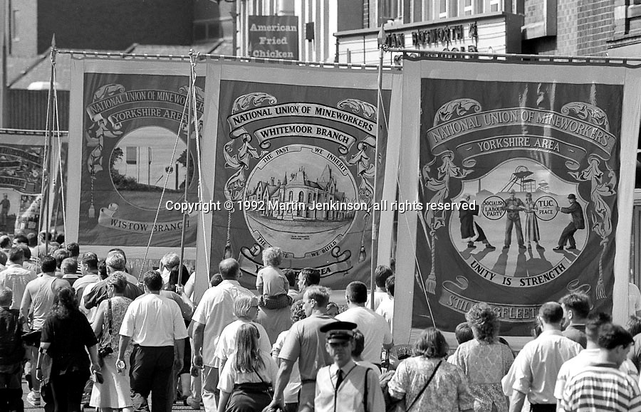 Wistow, Whitemoor and Stillingfleet Branch banners, reverse side. 1992 Yorkshire Miners Gala, Barnsley.
