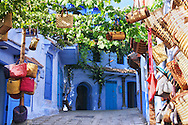 Handmade handbags for sell in the medina of Chefchaouen, Morocco.