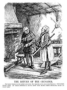 "The Return of the Crusader. Mr Lloyd George (as the faithful steward) to Mr Asquith (on his return from Palestine). ""Welcome home, sire. In your absence I have kept the home fires burning, such as they are."" (an InterWar cartoon showing Lloyd George as medieval servant to Herbert Asquith)"