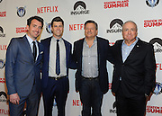 Producer Lorne Michaels, right, Netflix Chief Content Officer Ted Sarandos, second right, screenwriter Colin Jost, second left, and director Rhys Thomas, left, attend the premiere of their movie Staten Island Summer at Sunshine Cinema, Tuesday, July 21, 2015, in New York.  The new comedy debuts on Netflix on July 30, 2015 and is available for Digital download. (Photo by Diane Bondareff/Invision for Paramount Pictures/AP Images)