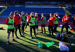 SAINT PETERSBURG, RUSSIA - Monday, October 23, 2017: Wales players during a training session at the Petrovsky Minor Sport Arena ahead of the FIFA Women's World Cup 2019 Qualifying Group 1 match between Russia and Wales. (Pic by David Rawcliffe/Propaganda)