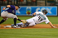 Apr 29, 2016; Phoenix, AZ, USA; Arizona Diamondbacks first baseman Paul Goldschmidt (44) safely steals second base against Colorado Rockies shortstop Trevor Story (27) in the first inning at Chase Field. Mandatory Credit: Jennifer Stewart-USA TODAY Sports