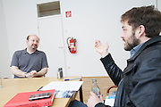 European Geosciences UnionGeneral Assembly 2012 at Austria Center Vienna..Professor Michael E. Mann, U.S.American climatologist. Interview with Ingo Arzt (r.), taz/Berlin.