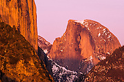 Evening light on Half Dome and El Capitan, Yosemite Valley, Yosemite National Park, California USA