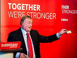 Former Deputy Primie Minister Lord Prescott shows off his train ticket and pledges to re-nationalise Virgin Trains a speech at a campaign event in Kirkcaldy.<br /> &copy; Dave Johnston/ EEm